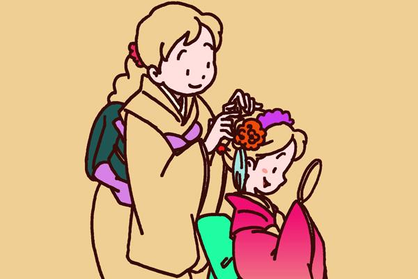 お正月時期のトップページイラスト。 娘の着物の着付けを手伝う母子の様子。