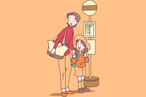 記事タイトル用のイラスト。 バス停でバスを待つ母娘の様子。