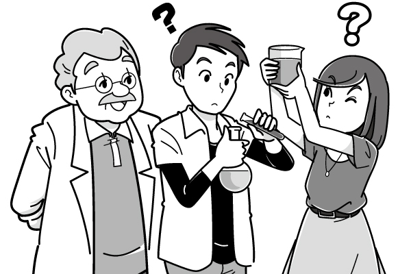 画本編での案内役の三人のキャラクターイラスト。