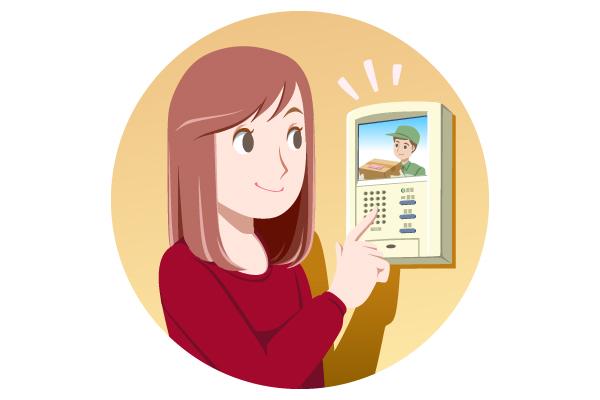 在宅時の防犯対策のイラスト。  来客を玄関のモニターで確認する様子