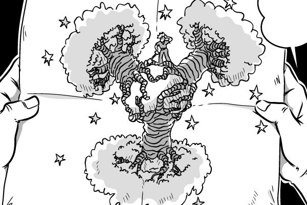 """漫画本文、主人公の""""僕""""が王子さまに描いた「バオバブ」のイラスト"""