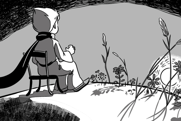 漫画本文、王子さまが自分の星にいた時に日の入りを44回も見たという話をするシーンのイラスト。