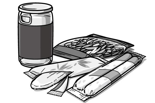 車内での定番おつまみ。  「ワンカップ・柿ピー・笹蒲鉾・チーカマ」のイラスト。