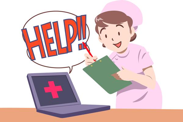 「購入前から購入後まで安心なパソコンライフ」のイラスト。  パソコンの問診をする看護士のイメージ。