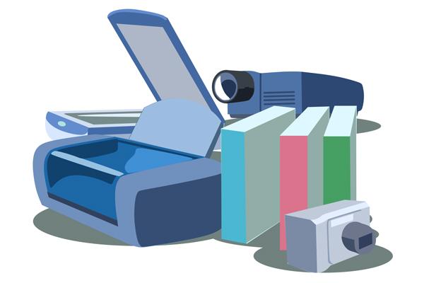「周辺機器、ソフトウェアも豊富な品揃え」のイラスト。  スキャナーやプリンター、デジカメなど。