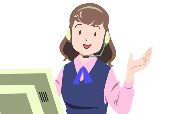「『購入相談コールバックサービス』で法人担当者がご相談に応じます」のイラスト。  コールセンターの係員のイメージ。