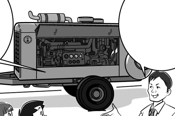 漫画本文、レンタル商品第一号の「コンプレッサー」のイラスト。