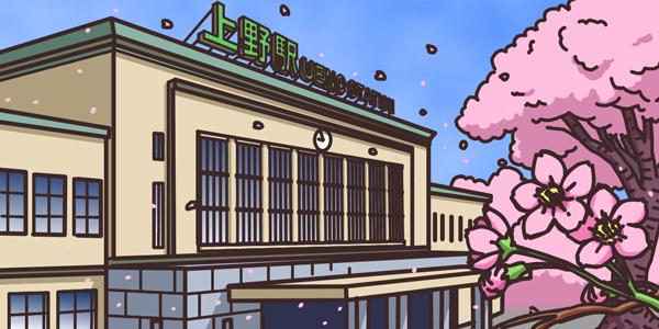 「下谷医師会」トップページイラストの背景部分。 桜の咲くJR上野駅舎。