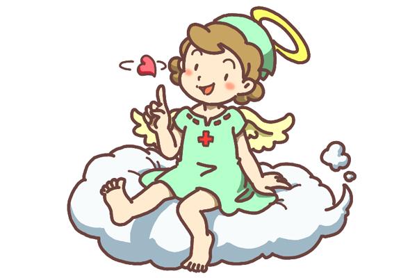 「下谷医師会立看護高等専修学校」トップページ用マスコット。 看護士の天使キャラクターイラスト。