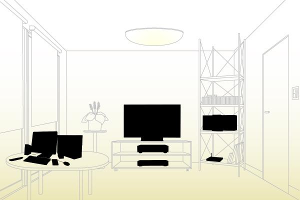 「音楽がつながる!」で使用されたリビングの背景用イラスト。