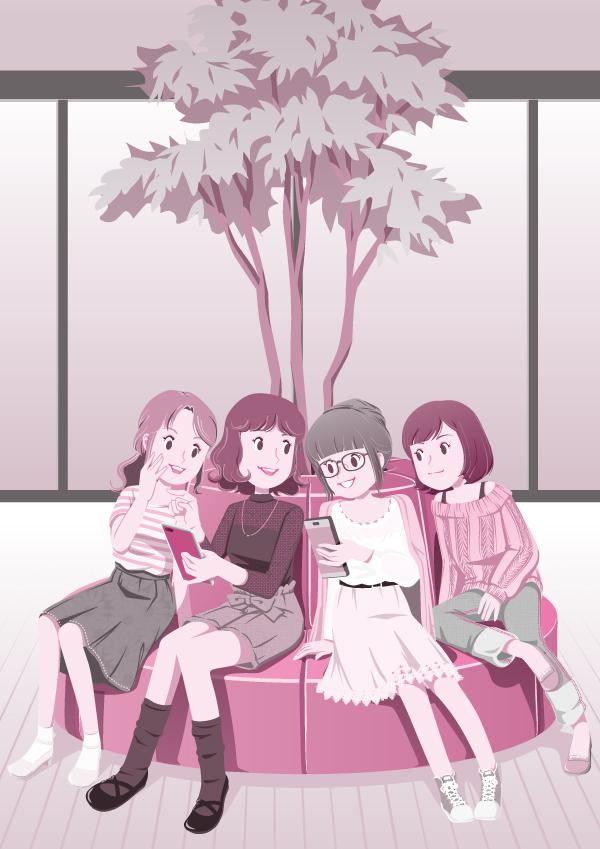 2019年度版、目次用イラスト。 四人の女子大生が、学校のロビーでスマホを見ながら楽しくおしゃべりをしているシーンのイラスト